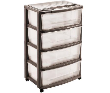 larga cassettiera 4 cassetti in plastica