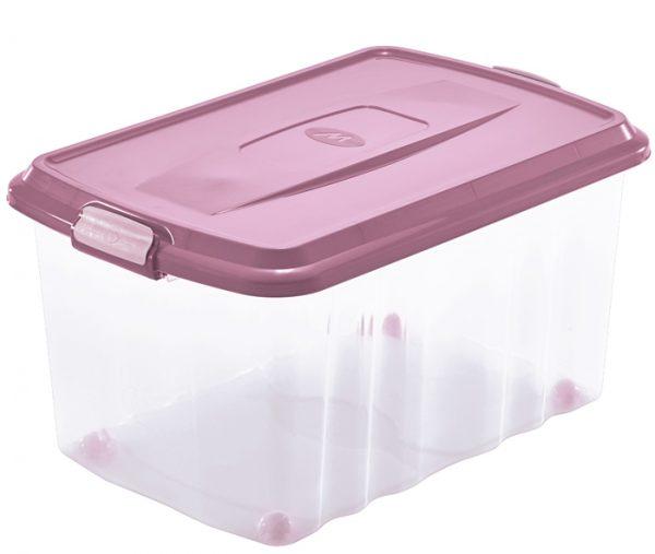 scatola con coperchio con chiusura a clip e ruote