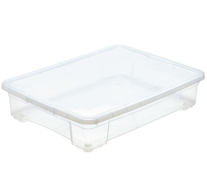scatola bassa per oggetti con ruote e coperchio mazzei home