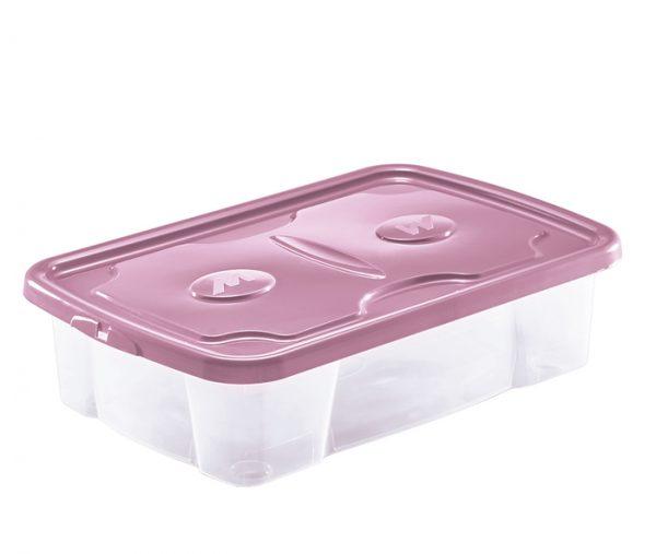 scatola plastica trasparente con coperchio rosa mazzei home