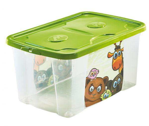 scatola per giochi bimbi con coperchio e stampa jungle