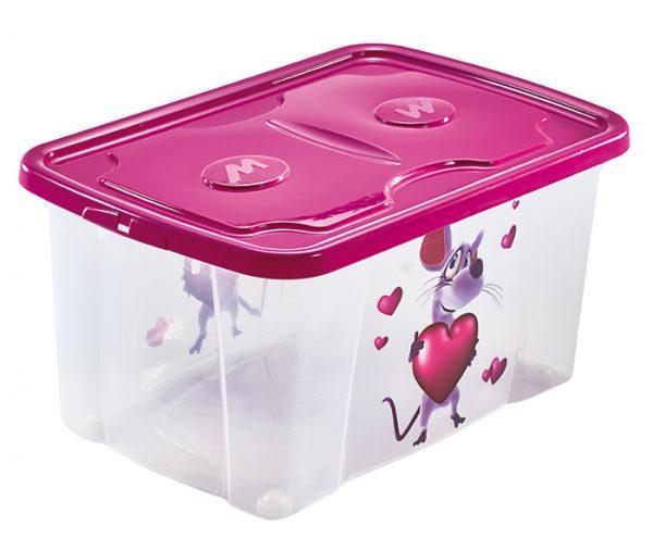 scatola per giochi bimbi con stampa topoo con cuore mazzei home