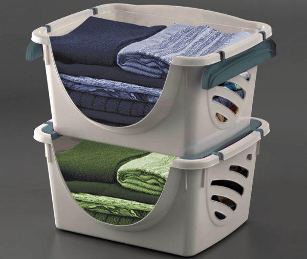 cesta impilabile lavanderia per panni mazzei home