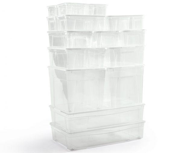 foto di gruppo di scatole mbox trasparenti con coperchi