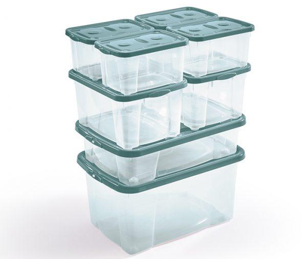 foto d'insieme scatole plastica con coperchio mazzei home