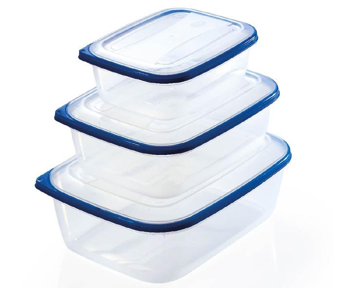 set tre contenitori per alimenti rettangolari
