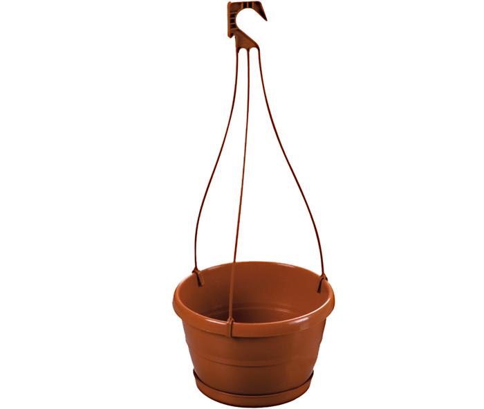 vaso con sottovaso e gancio per piante