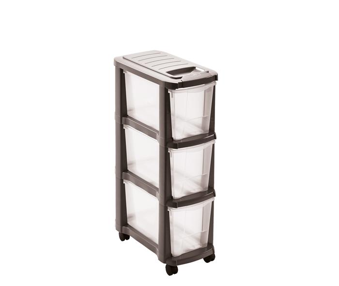 cassettiera smontabile in plastica a 3 cassetti mazzei home
